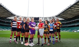 Members of the 10 teams attend the launch of the Tyrrells Premier 15 competition at Twickenham: left to right; Amelia Buckland-Hurry of Bristol Ladies, Courtney Peryer of Gloucester Hartpury, Zoe Bennion of Worcester Valkyries, Lotte Clapp of Saracens, Rachel Malcolm of Loughborough Lightning, Amy Turner of Harlequins FC, Kate Alder of Wasps Ladies, Hannah Morton of Darlington Mowden Park Sharks, Ash Neale of Firwood Waterloo and Rowena Burnfield of Richmond.