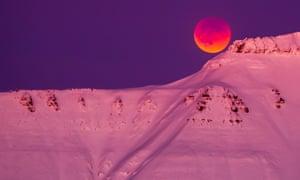 Super blue blood moon over Svalbard, Norway.