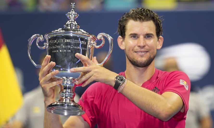 Dominic Thiem holds up the trophy after winning the US Open 2020 final against Alexander Zverev