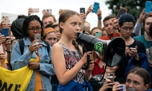 'Given the right circumstances, being different is a superpower': Greta Thunberg outside the White House.