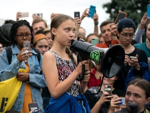 Swedish climate activist Greta Thunberg with other student environmental advocates during a strike to demand action be taken on climate change outside the White House on September 13, 2019