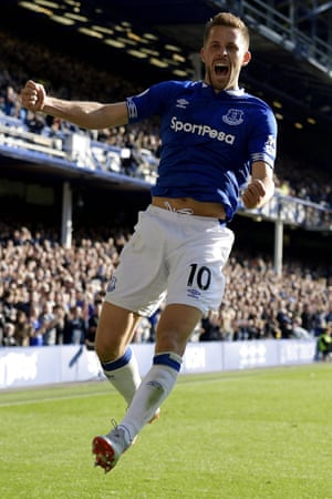 Everton's Gylfi Sigurdsson celebrates his first goal of two as The Toffees beat Fulham 3-0 at Goodison Park.