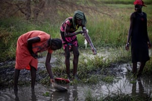 At the nearby swamp, two women wash and another collects water in a plastic container