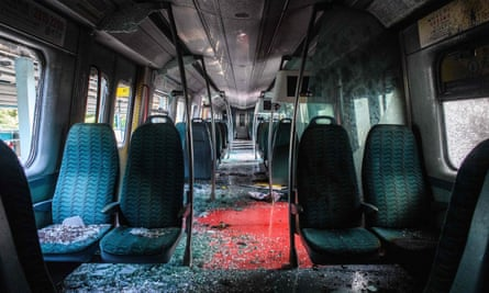 A train carriage after it was vandalised at the University MTR train station.