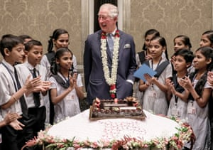 Prince Charles celebrates his 71st birthday with schoolchildren in Mumbai, India