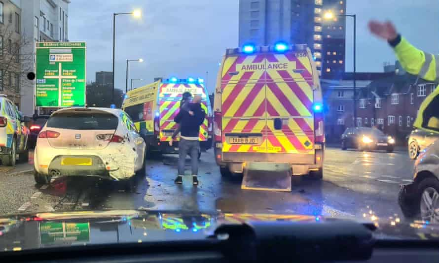 The scene after police stopped a vehicle in Birmingham which was reported stolen by its owner and whose two children were still inside at the time. Two 15-year-old boys have been charged with kidnapping following the incident.