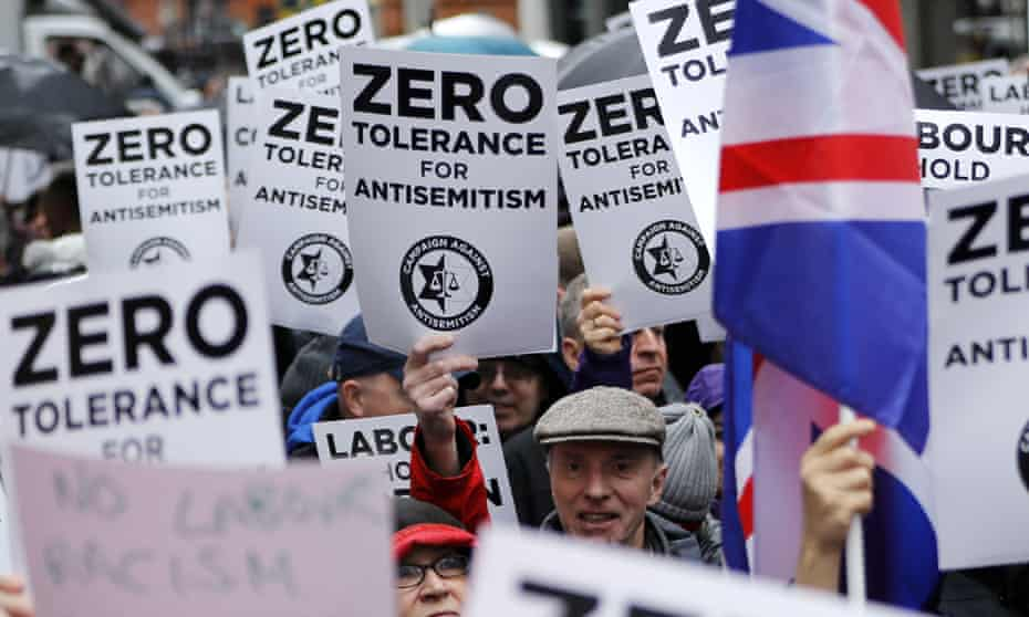 An April 2018 demonstration organised by the Campaign Against Antisemitism outside the head office of the Labour party in central London.