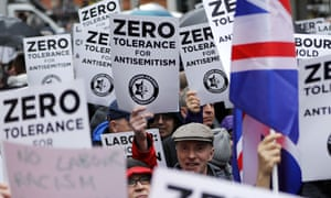 A demonstration organised by the Campaign Against Anti-Semitism outside Labour Party HQ.