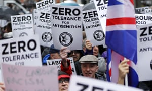 A demonstration organised by the Campaign Against Antisemitism outside the head office of the Labour party in London.