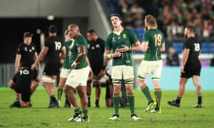 Franco Mostert of South Africa shows his dejection after his side's defeat.