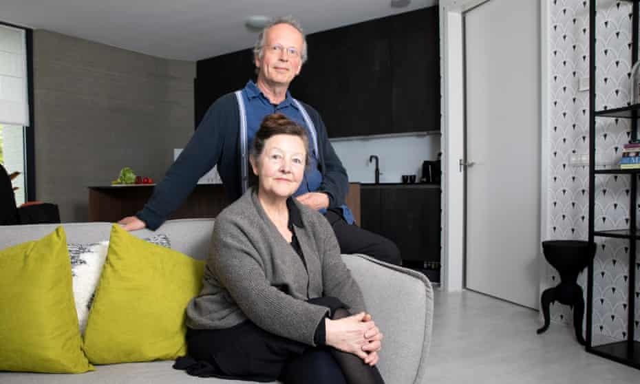 Harrie Dekkers and Elize Lutz inside their 3D-printed house: 'It has the feel of a bunker – it feels safe.'