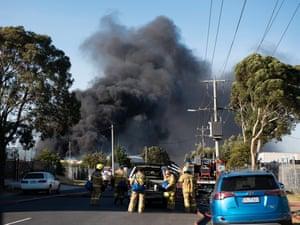 Firefighters battle the blaze