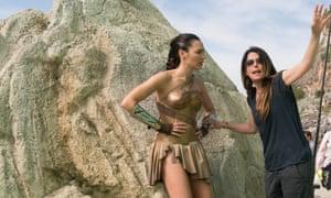 Patty Jenkins directs Gal Gadot on the set of WonderWoman, 2017.