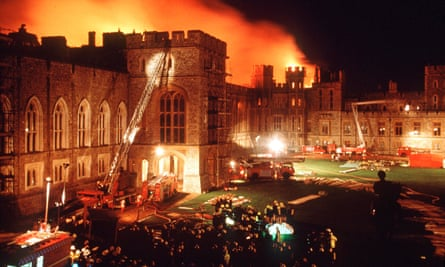 Another disaster in the Queen's annus horribilis when a fire broke out at Windsor Castle in 1992.