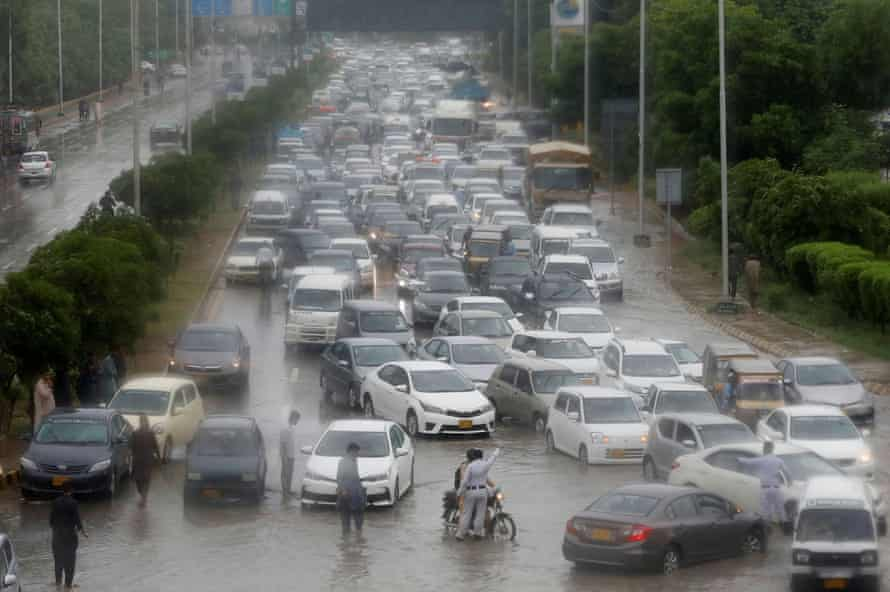A traffic jam as the monsoon hits Karachi.