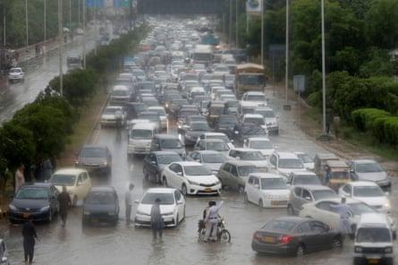 Traffic jam in Karachi with monsoon.