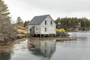 A fish shack with lobster traps in Cozy Harbor, on Southport Island, Maine.