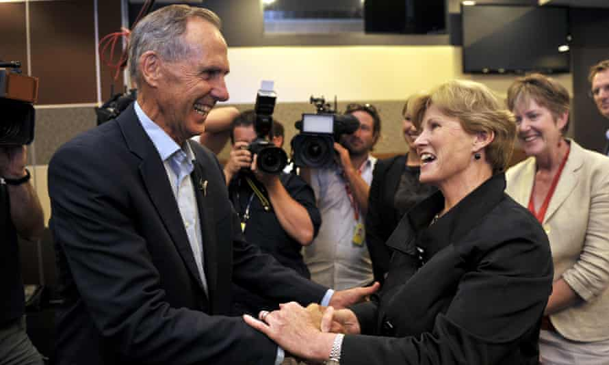 Former Australian Greens leader Bob Brown congratulates Christin Milne after her speech at the National Press Club in Canberra, in February 2013.