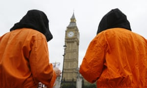 Protesters highlight British involvement in the mistreatment of detainees during the 'war on terror'.