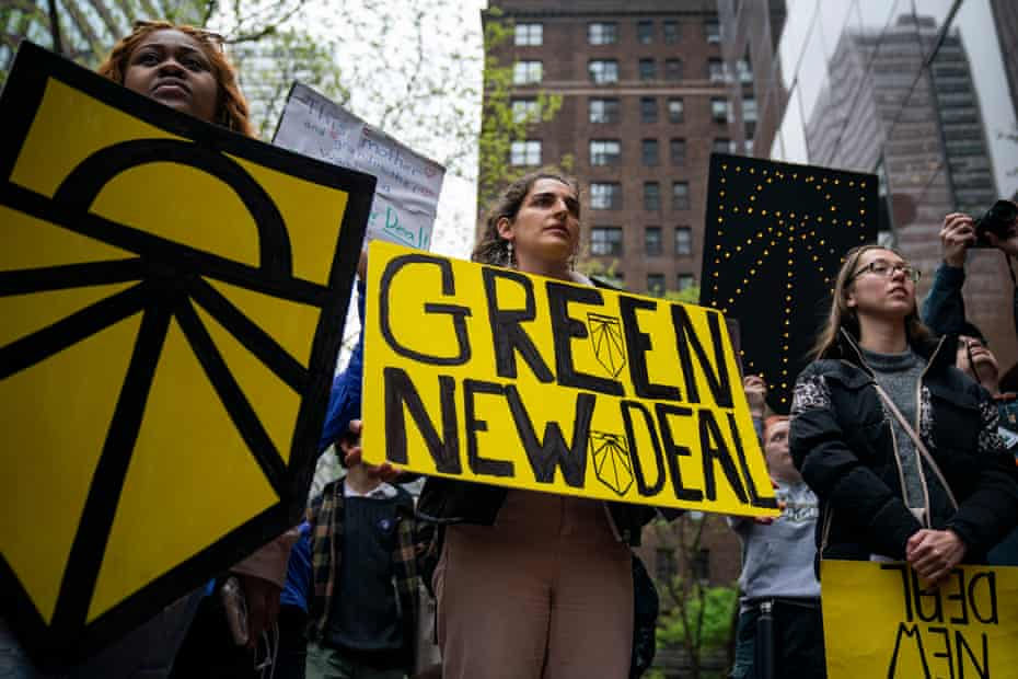 Climate Activists Protest Against Senate Leader Chuck Schumer Demanding He Sign On To Green New DealNEW YORK, NY - APRIL 30: Activists rally in support of proposed 'Green New Deal' legislation outside of Senate Minority Leader Chuck Schumer's (D-NY) New York City office, April 30, 2019 in New York City. The activists called on Minority Leader Schumer (D-NY) to support the 'Green New Deal' legislation in Congress.
