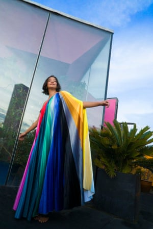 Rainbow collections Kitty Joseph's joyful Prism collection is semi-bespoke. It's made to order to reduce waste. The asymmetric gown uses 5m of pleated velvet, printed in a reimagined colour spectrum. From £165 for a Prism top, kittyjoseph.com