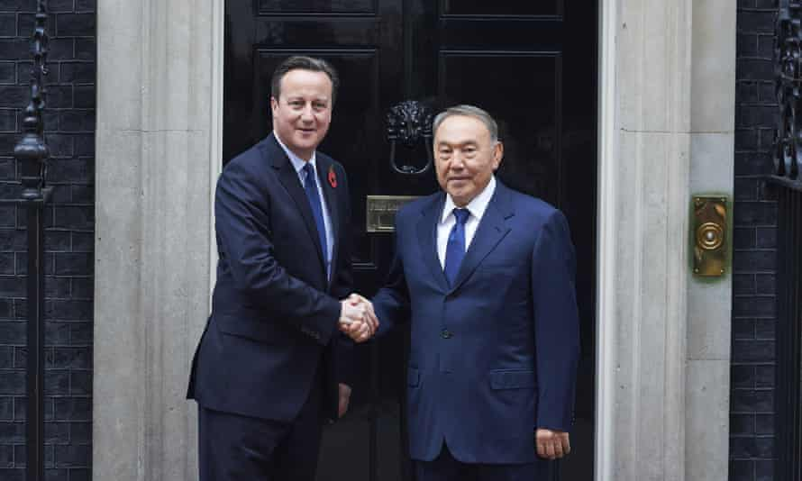 British prime minister David Cameron with President Nursultan Nazarbayev of Kazakhstan outside 10 Downing Street