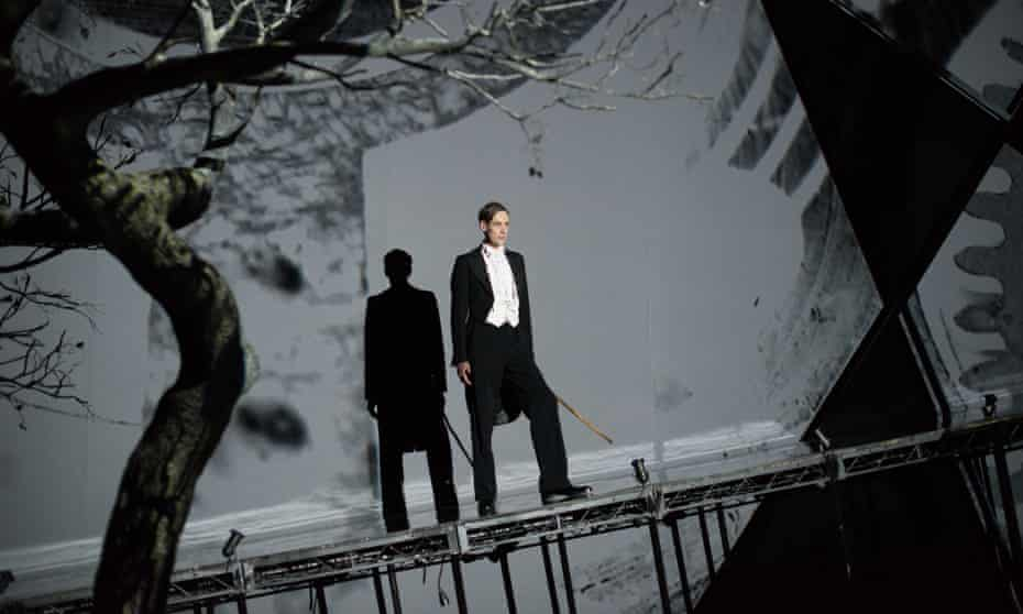 Utterly lucid … Ian Bostridge in The Dark Mirror: Zender's Winterreise at the Barbican, London. Photographs: Hugo Glendinning