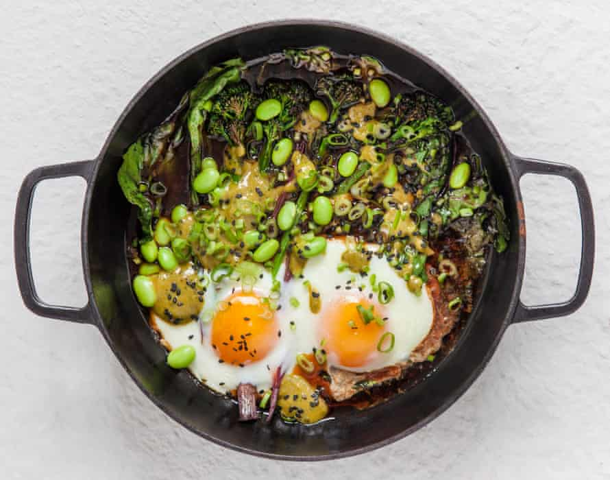 Miles Kirby from Caravan's green baked eggs with miso verde.