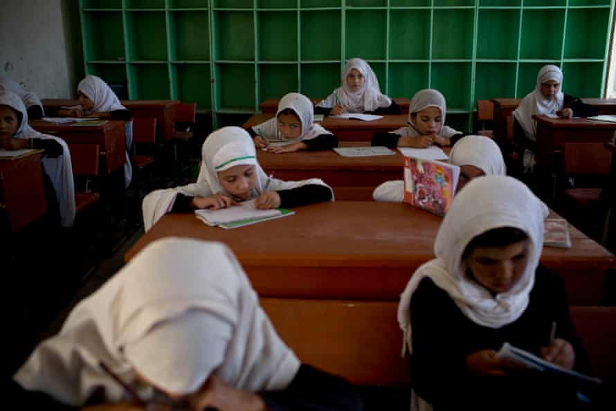 Girls at a government school in Kandahar.
