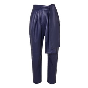 blue leather trouser with sash waist