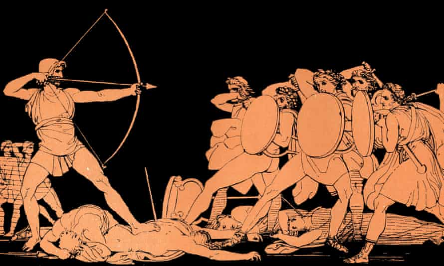 Odysseus killing the suitors of his wife, Penelope