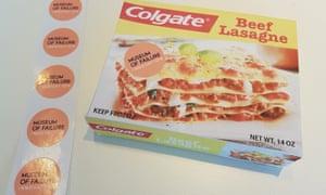 Artist's impression … Colgate lasagne – beefy, creamy freshness.