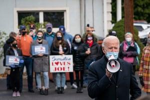 Biden with supporters in Scranton.