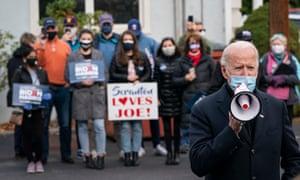 Joe Biden speaks to supporters in Scranton, Pennsylvani as polls open on election day.