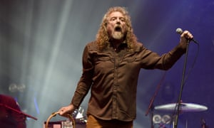 Robert Plant performing on stage.