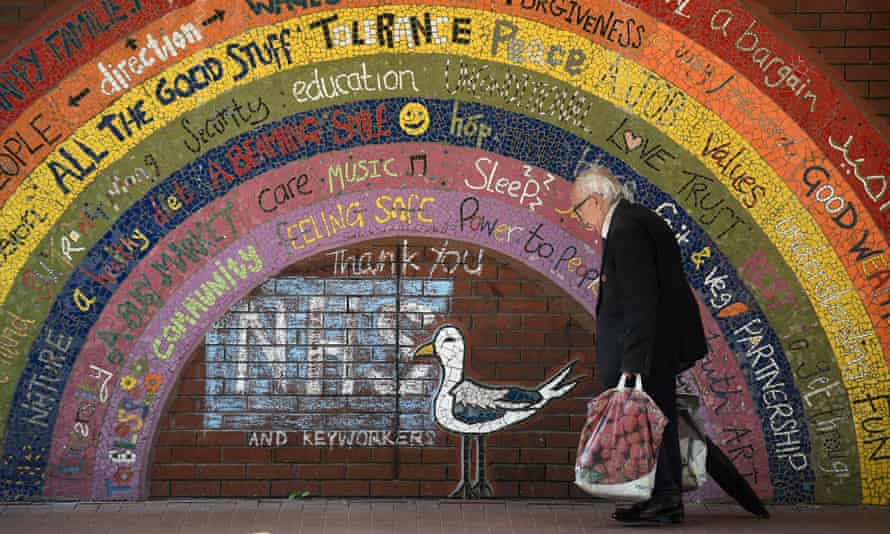 The 'rainbow of hope' mosaic in Kirkgate market, Leeds, created during the first lockdown.