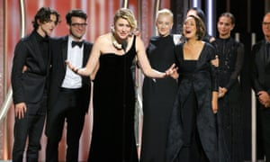 Greta Gerwig, director of Lady Bird, accepts the award for best motion picture comedy or musical at the Golden Globes