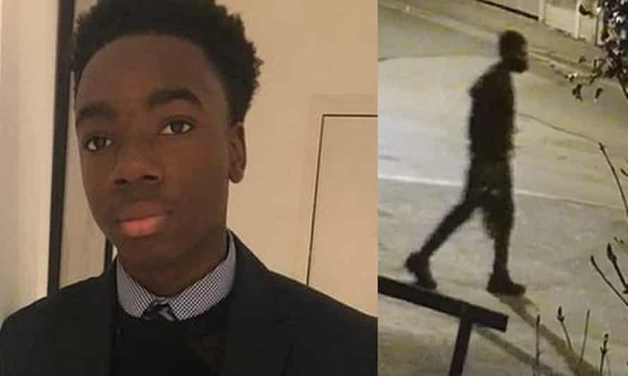 The missing student Richard Okorogheye and a screengrab of CCTV footage dated 23 March of him in Loughton, Essex.