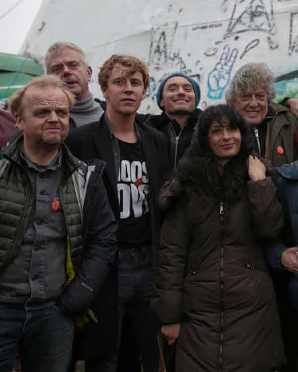 Some of those involved in the Letters Live performances at Calais's Jungle camp.