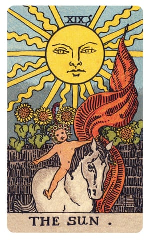 The Sun (Rider-Waite-Smith Tarot), 1910, by Pamela Colman Smith and AE Waite A child, naked and innocent, rides a white horse, while carrying a fluttering banner of victory. Above the child is an enormous sun with a serene, paternal face. This card represents, in part, childhood innocence and purity, particularly emphasised through the white horse, a symbol of strength and nobility