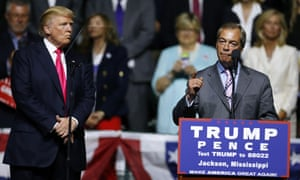 Donald Trump listens to Nigel Farage during a Trump rally on 24 August.