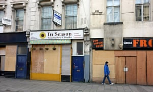 Boarded-up shops