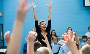 Nicola Benedetti working with primary school children at Big Noise Raploch in Stirling in September.