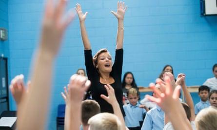 Nicola Benedetti working with primary school children at Big Noise Raploch in Stirling in September.