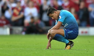 Liverpool v Arsenal - Premier League<br>LIVERPOOL, ENGLAND - AUGUST 27:  Alexis Sanchez of Arsenal reacts during the Premier League match between Liverpool and Arsenal at Anfield on August 27, 2017 in Liverpool, England.  (Photo by Michael Regan/Getty Images)