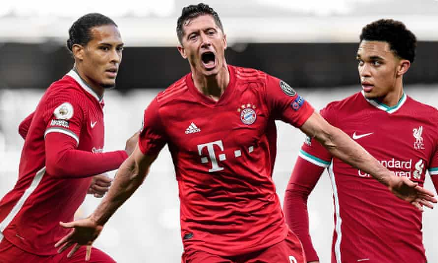 Robert Lewandowski (centre) came first in our 100 best male footballers in the world but it was Liverpool who had the most players on the list, including Virgil van Dijk (left) and Trent Alexander-Arnold.