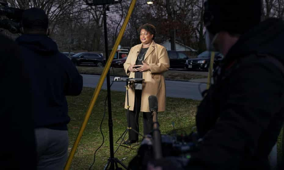 Stacey Abrams speaks to the media in Atlanta, Georgia, on Tuesday. She spearheaded Democratic organisational efforts in the state.
