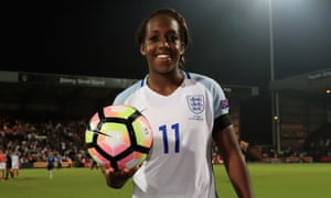 Danielle Carter of England holds the match ball after her hat-trick against  Estonia Women in the Euro 2017 qualifier at Meadow Lane