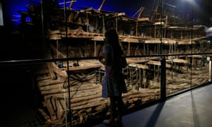 A young visitor looks at the Mary Rose