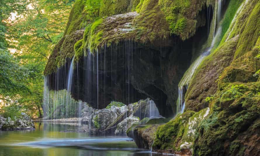 The Bigar Cascade falls in Nera Beusnita Gorges national park, Romania.